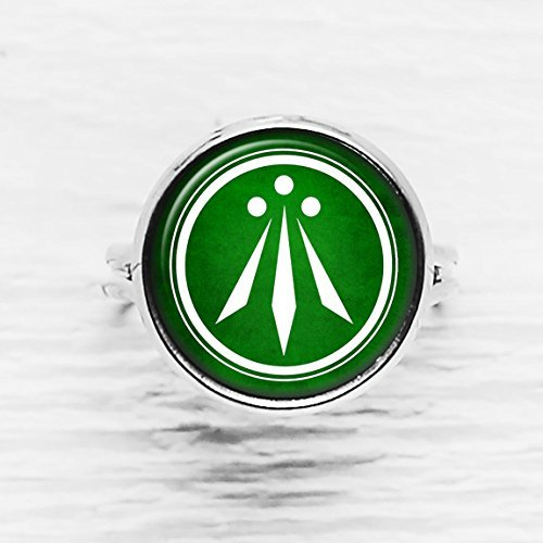 Celtic Symbol - The Awen - Three Rays of Light - White on Green Rhodium Plated Silver Adjustable Ring