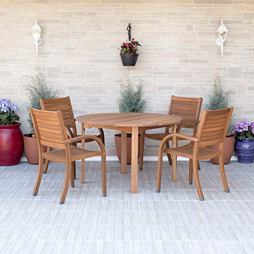 Amazonia Arizona 5 Piece Round Outdoor Dining Set |Super Quality Eucalyptus Wood| Durable and Ideal for Patio and Backyard, Light Brown (Dining Set Outdoor Wicker Piece 5)