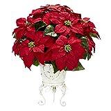 Poinsettia With Metal Planter Silk Flower Arrangement Sale