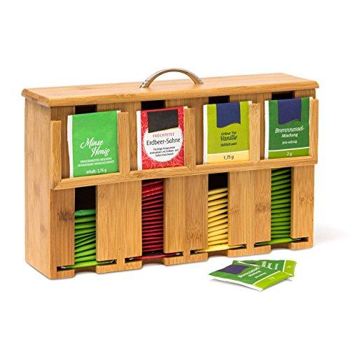Relaxdays Caja para Bolsitas de Te, Bambu, Marron, 22 x 33 x 10 cm