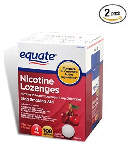 Equate - Nicotine Lozenge 4 mg, Stop Smoking Aid, Cherry Flavor, Lozenges, 108-Count (2 pack) (2)