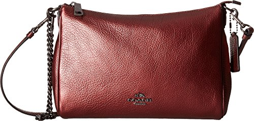 COACH Women's Leather Carrie Crossbody Metallic Cherry One Size (Metallic Cherry)