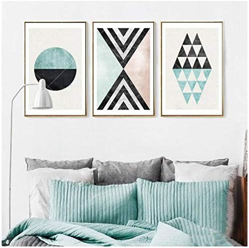 抽象ヴィンテージ幾何学サークルパターンキャンバス絵画壁アート写真ポスタープリントリビングルームの装飾-30×40×3ピースcmいいえ額装