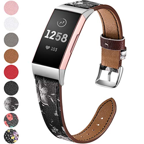 Maledan Compatible with Fitbit Charge 3 Bands, Small, White Floral
