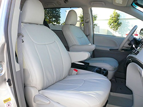 Clazzio 241243lgy Light Grey Leather Front, Rear and Third Row Seat Cover for Toyota Sienna (3rd Row Leather)