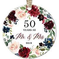 "2019 Christmas Ornament Celebrating 50th Fiftieth Golden Wedding Anniversary Husband & Wife Fifty Years Married Beautiful Ceramic Holiday Gift Keepsake Porcelain 3"" Flat with Gold Ribbon Free Box"