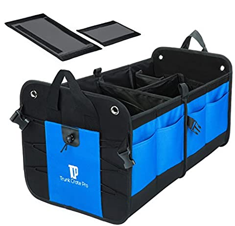 Trunkcratepro Collapsible Portable Multi Compartments Trunk Organizer, Blue (Sub Cargo Organizer)