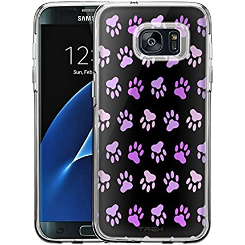 Samsung Galaxy S7 Edge Case, Snap On Cover by Trek Purple Paw Pattern on Black One Piece Trans Case Sales