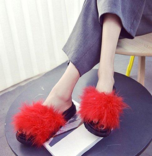 Sagton® Kvinner Tøffel Chic Fluffy Kanin Pels Flate Sandaler Tilfeldige Innendørs Utendørs Flip Flop Shhoes Røde