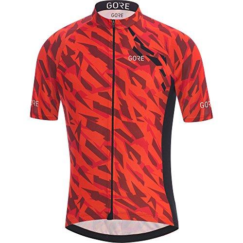 (GORE Wear Men's Breathable Cycling Short Sleeve Jersey, GORE Wear C3 Camo Jersey, Size: L, Color: Orange/Black, 100030)
