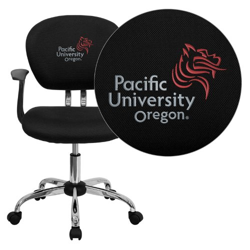 Flash Furniture Pacific University Oregon Boxers Embroidered Black Mesh Task Chair with Arms and Chrome Base