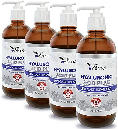 4 Pack Hyaluronic Acid for Skin - 100% Pure Medical Quality Clinical Strength Formula - Anti aging formula (8 oz)