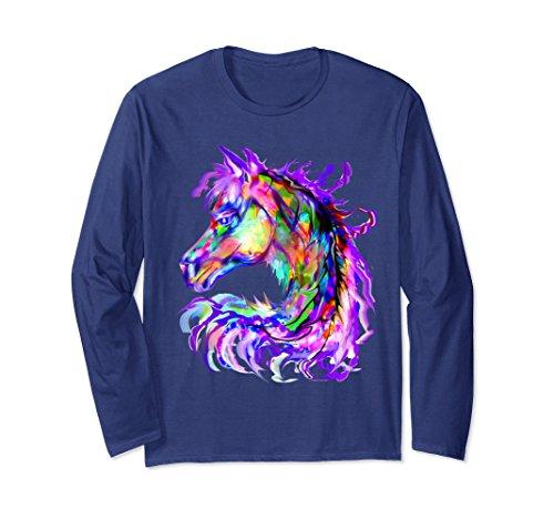Horse Print Shirt - Unisex Colorful Rainbow Horse Head Print Long Sleeve Shirt Medium Navy