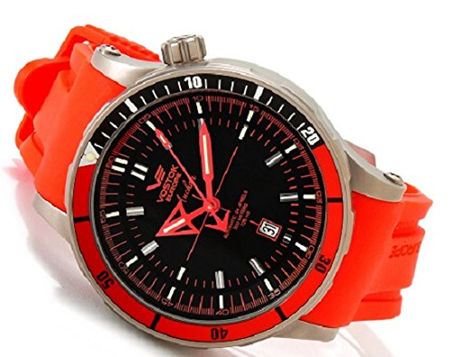 Amazon.com: Vostok Europe Anchar Automatic Titanium Mens Watch Red and Black - 3 Straps NH35A/5107171: Watches