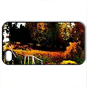 AUTUMN PARK - Case Cover for iPhone 4 and 4s (Amusement Parks Series, Watercolor style, Black)