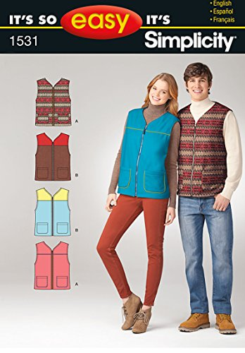 Simplicity It's So Easy Pattern 1531 Misses and Men's Vest with Pocket Variation Chest 30-48