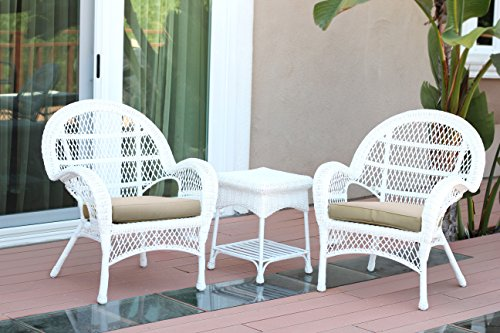 Jeco W00209-C_2-CES006 3 Piece Santa Maria Wicker Chair Set with Tan Cushions White from Jeco Inc.