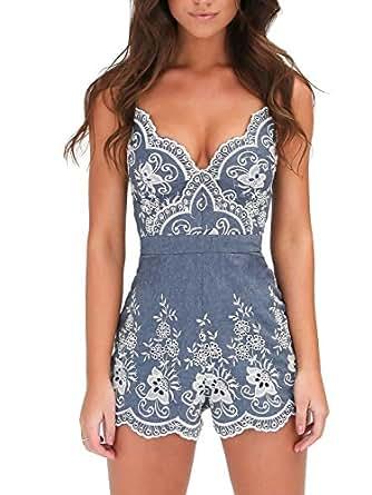 Simplee Apparel Women's V Neck Emboridered Floral Romper Jumpsuit Playsuit 4/6 Blue
