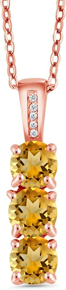 Gem Stone King 1.39 Ct Round Yellow Citrine and Diamond 18K Rose Gold Plated Silver 3 Stone Pendant