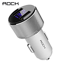 Carregador Veicular Rock Sitor Com Display Iphone X/8/7/plus/Galaxy S9/S8/Plus/Note 8 (Branco)