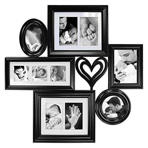 Jerry & Maggie - Photo Frame 28x28 Black Picture Frame Multi Selfie Gallery Collage Wall Hanging 6 Open Photo Sockets with Heart & Cross - Wall Mounting ()