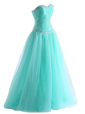 08d6e4def20f Ball Gown Sweetheart Tulle Formal Prom Dresses Beaded Quinceanera Dress  Lace Up (Aqua)