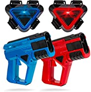 SHARPER IMAGE Two-Player Toy Laser Tag Gun Blaster & Vest Armor Set for Kids, Safe for Children and Adults