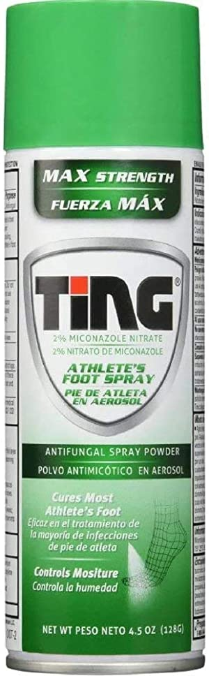 Ting Antifungal Spray Powder for Athlete's Foot, Jock Itch, Ringworm   Max Strength   4.5-Ounces   5-Pack