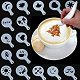 Electronic Spice Pen and Stencils Deco Art for Latte Coffee Cake Cookie