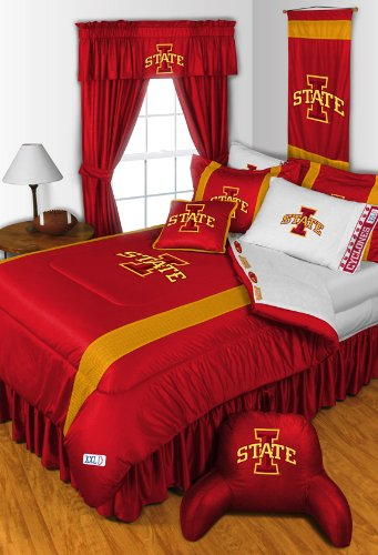 Iowa State Queen Bedskirt - Iowa State Cyclones 4 Pc QUEEN Comforter Set, Shower Curtain & 2 Pc Towel Set - Entire Set Includes: (1 Comforter, 2 Shams, 1 Bedskirt, 1 Shower Curtain, 1 Bath Towel, 1 Hand Towel) - Decorate your Bedroom and Bathroom & SAVE BIG ON BUNDLING!