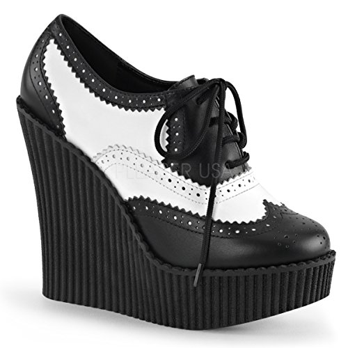 Demonia Pleaser Creeper-307 Donna 5 1/4 Wedge Pf Stringate Brogue Creeper Con Punta Alica E Pizzo Blk-wht Vegan Leather