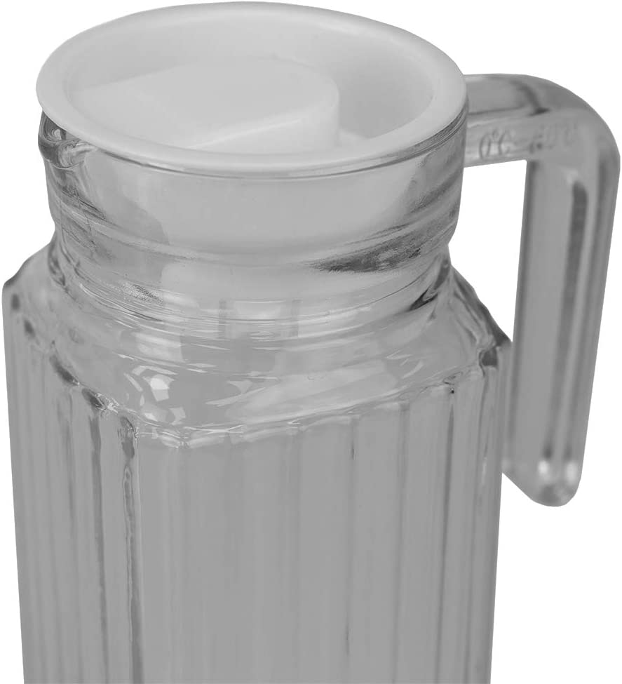 Juice 1 L Clear Iced Tea Home Basics GP45235 Decorative Embellished Glass 1 Lt Beverage Pitcher with No-Mess Pouring Spout and Solid Grip Handle for Hot//Cold Water