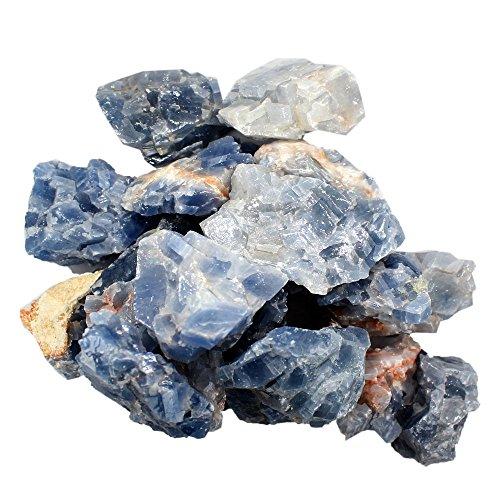 1 (ONE) 1 Pound Bag Blue Calcite Stone - 1 Pound Bag - Blue Calcite Stone - Rock Paradise Exclusive COA (Medium Green Calcite compare prices)