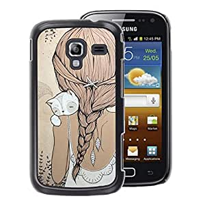 A-type Arte & diseño plástico duro Fundas Cover Cubre Hard Case Cover para Samsung Galaxy Ace 2 (Cute Girl Ponytail Cat Beige Dress Sweet)