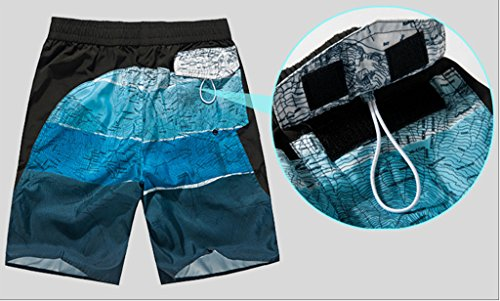 Haodasi Men Map Quick Dry Casual Sports Beach Shorts Strand Shorts Swim Shorts Swimwear Bademode Boardshorts Color Blue Size XXL