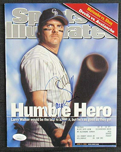 (Larry Walker Signed Auto Autograph Sports Illustrated 6/11/01 Issue DD86912 - JSA Certified - Autographed MLB Magazines)
