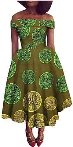 African Dresses for Women Party Wear for Girls Women Wax Print Sexy  Offshoulder Ball Gown Cocktail c9c243eb8