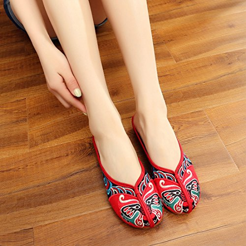 YIBLBOX Women's Shoes Chinese Traditional Beijing Opera Elements Embroidery Loafer Slip On Slippers Shoes Red 6rZVo5X