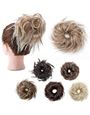 Tousled Updo Messy Bun Hair Pieces Curly Wavy Elastic Scrunchies Rubber Band Hairpiece Fluffy Hair Extensions Synthetic Chignon Ponytail Donut for Women Hairpiece #27T613 Sandy Brown to Bleach Blonde 45g