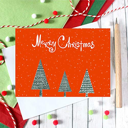 SUPHOUSE Christmas Happy Holiday Family Greeting Cards Boxed Set of 30, 6 Assorted Winter in Snow Festive Color Classy Design Blank On the Inside, Envelopes and Sealing Stickers Included Photo #3