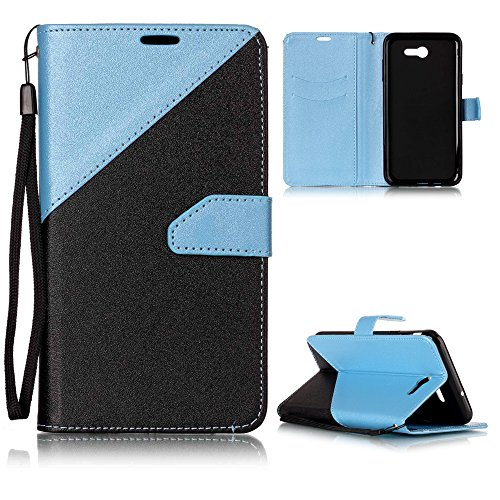 Galaxy J7 V Case, Galaxy J7 Perx, Galaxy J7 Sky Pro, NOKEA [Kickstand Feature] Luxury PU Leather Wallet Flip Protective Case Cover with Card Slots for Samsung Galaxy J7 V (2017) (Blue)