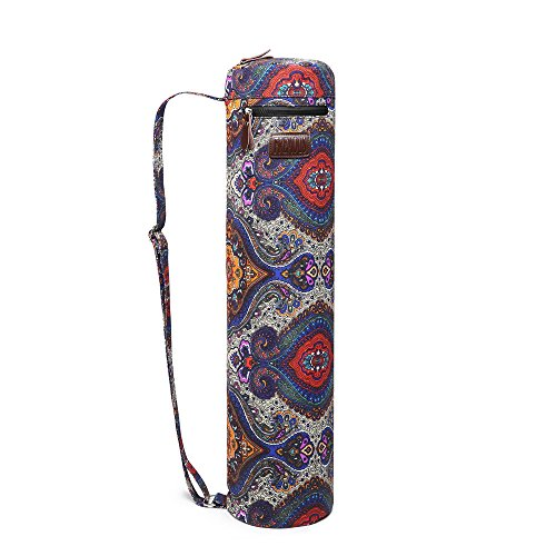 Fremous Yoga Mat Bag and Carriers for Women and Men - Double Storage Pocket - Easy Access Zipper - Adjustable Shoulder Strap and Handle (Lotus)