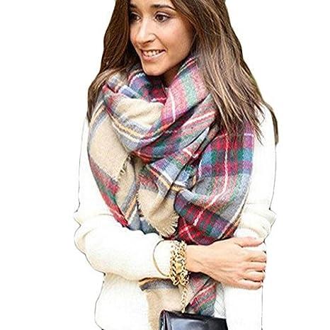 Tongshi Abrigo de la bufanda del mantón de la tela escocesa de Cozy Chequeado Mujeres Señora