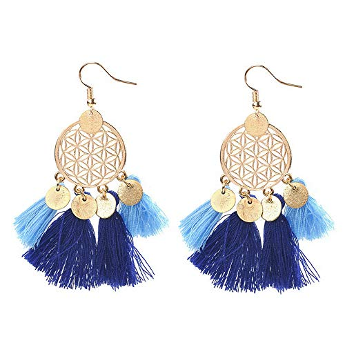 Wausa Women Colorful Bohemian Earrings Summer Long Tassel Fringe Boho Dangle Earrings | Model ERRNGS - 10671 |