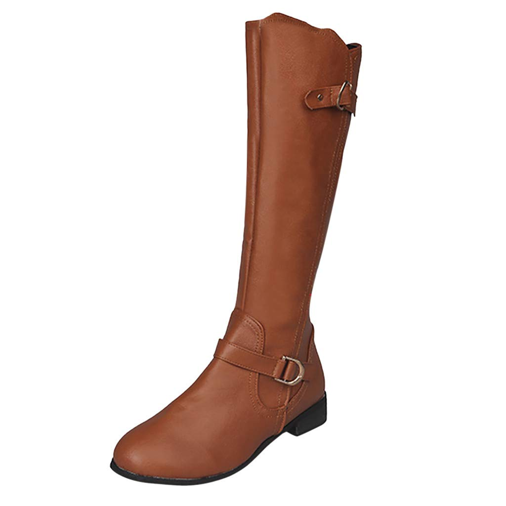 ✦◆HebeTop✦◆ Women's Quilted Side Zip Knee High Flat Riding Boots Sexy Knee High Boot - Comfortable Easy He Brown by HebeTop➟Shoes Accessory