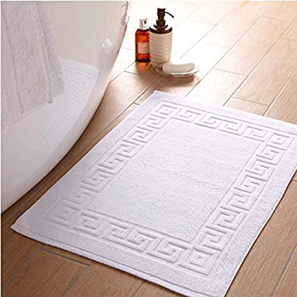 Linenwalas 100% Cotton Super Absorbent Terry Bath Mat (Solid White)