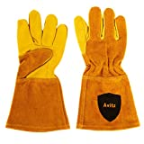 AVITZ Animal Handling Gloves 35cm GAUNTLET LEATHER Kevlar- Works Great w/DOG, CAT, BIRD, REPTILE