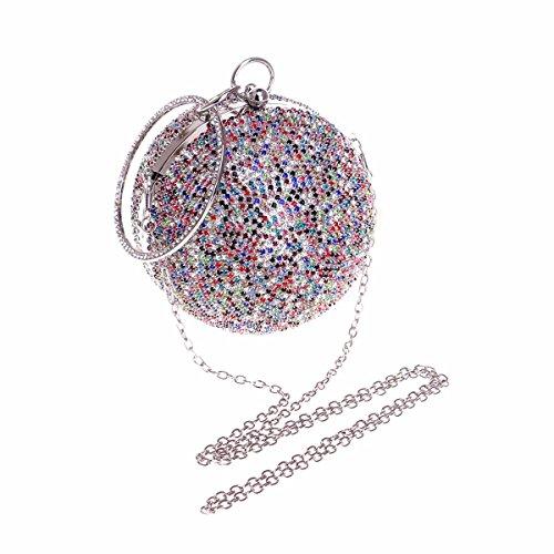 XJTNLB esféricos de con y de Bolso noche diamantes mujer de con de Europa América Bolso Plateado Amarillo diamantes incrustaciones 7Cwq7O
