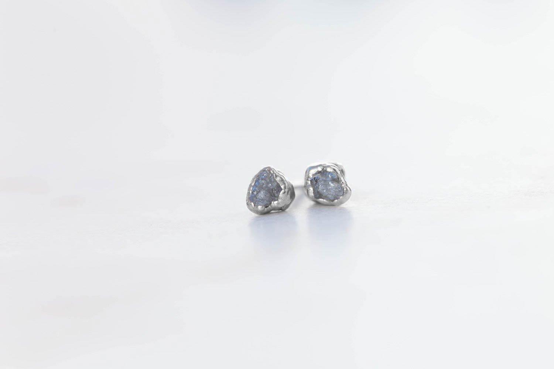 Raw Diamond Earrings Sterling Silver