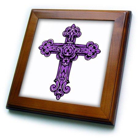 3dRose Purple Decorative Religious Cross - Framed Tile, 8 by 8-Inch (ft_78344_1) (Cross Framed Tile)